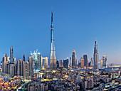 View from South Ridge to Downtown Dubai, Burj Khalifa, Dubai, United Arab Emirates