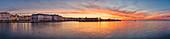 Alter Hafen beim Sonnenuntergang, Panorama, Triest, Friaul-Julisch Venetien, Italien