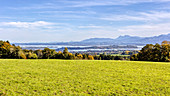 View from Ratzinger Höhe towards Chiemsee, Rimsting, Bavaria, Germany