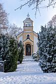 Friedrichskapelle in snowy surroundings, Andechs, Bavaria, Germany