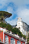 View from the Marina Grande on an old church in Capri, Italy