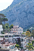 View at houses and mountain in Capri, Italy