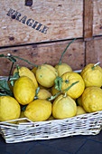 Lemons in a basket in Capri, Italy
