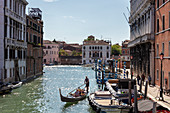 Gondola and boats on Rio di Cannaregio in Venice, Veneto, Italy
