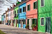 Colorful houses on Burano in the Venice lagoon, Veneto, Italy