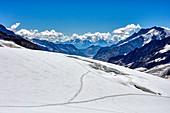 Tracks in the snow at Jungfraujoch, Aletsch Glacier, Valais, Switzerland