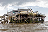 Beach bar 54, pile dwellings, north beach, St. Peter-Ording, Schleswig-Holstein, Germany