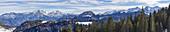 Panorama view from Winklmoos-Alm towards Wildalm in Austria, Bavaria, Germany