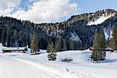 Schwarzentennalm in winter with snow, Mangfall Mountains, Bavaria, Germany