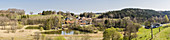 Fish ponds and Lauser Weiher panorama in Unterlaus, Bavaria, Germany
