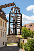 Diving rack with cage in front of the crime museum in Rothenburg ob der Tauber, Middle Franconia, Bavaria, Germany
