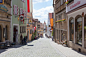 From the market square to the Sieberstor in Rothenburg ob der Tauber, Middle Franconia, Bavaria, Germany