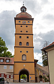 Segringer Tor with a baroque onion roof in Dinkelsbühl, Middle Franconia, Bavaria, Germany