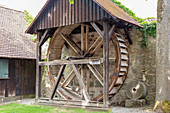 Mill wheel of the Hardmühle in Dinkelsbühl, Middle Franconia, Bavaria, Germany