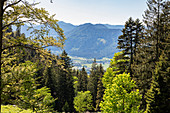 View into the valley at Birkenstein in west direction, Bavaria, Germany