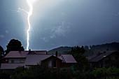 Lightning, thunderstorm, impact, weather, Bruckmühl, Bavaria, Germany