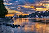 View from Innstadt am Ufer on Passau at sunset, Danube, Inn, Bavaria, Germany