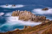 Im September an der Bretonischen Küste, Cornouaille, Bretagne, Frankreich, Europa