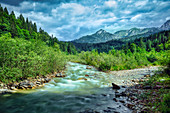 View across the river 114 to the Ammergau Alps, Bavaria, Germany, Europe