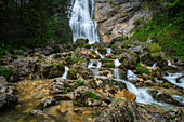 The waterfall above the Kenzenhütte, Allgäu, Bavaria, Germany, Europe
