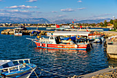 Fishing boats in the harbor of Side, Turkish Riviera, Turkey, Western Asia