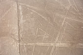 Aerial view of Nazca Lines, pre-Columbian geoglyphs etched into desert sands, Nazca, southern Peru.