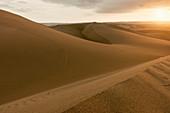 Desert landscape at sunset near Cusco, Peru.