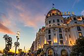 Illuminated Le Negresco Hotel building at sundown, Nice, Alpes Maritimes, Cote d'Azur, French Riviera, Provence, France, Mediterranean, Europe