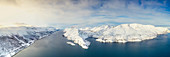 Aerial view of Altafjord and snow covered mountains along the coastline, Troms og Finnmark county, Northern Norway, Scandinavia, Europe