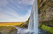 A spectacular sheer waterfall, Seljalandsfoss Falls, near Vik, near the south coast of Iceland, Polar Regions
