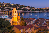 Illuminated Saint-Michel Church at dusk, Villefranche sur Mer, Alpes Maritimes, Cote d'Azur, French Riviera, Provence, France, Mediterranean, Europe