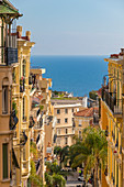 View from Beausoleil down to the historical buildings of the Monte Carlo quarter, Monaco, Cote d'Azur, French Riviera, Mediterranean, Europe