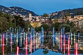 Illuminated Mirror Water Fountain at Promenade du Paillon, Nice, Alpes Maritimes, Cote d'Azur, French Riviera, Provence, France, Europe