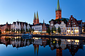 Old town and River Trave at Lubeck, St. Mary's  and St. Peters Churches left and right.