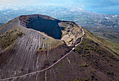 Aerial view of Mount Vesuvius volcano, Naples, Campania, Italy, Europe