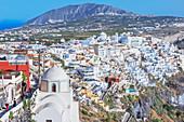 Thira, elevated view, Santorini, Cyclades Islands, Greek Islands, Greece, Europe