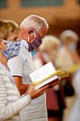 Coronavirus epidemic (Covid-19), Pentecost Mass after lockdown, distance measurement, Saint Joseph des Fins Basilica, Annecy, Haute Savoie, France, Europe
