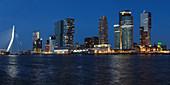 Nieuwe Maas River, Erasmus Bridge and Skyline, Rotterdam, South Holland, Netherlands, Europe