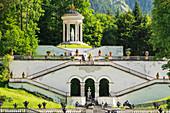 Stairs to Venus Temple, Linderhof Palace, Werdenfelser Land, Bavarian Alps, Upper Bavaria, Germany, Europe