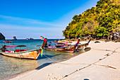Longtail boats on Tup Island, Krabi Province, Thailand, Southeast Asia, Asia
