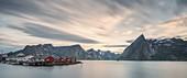 Long exposure on the bay of Hamnøy, Moskenes, Nordland county, Lofoten Islands, Northern Norway, Europe