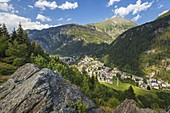 A view of Campodolcino village from Alpe Zanon, Sondrio province, Spluga valley, Lombardy, Italy, Europe