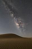 the milky way over the sand dunes, Sahara desert, Tunisia, Northern Africa.\n
