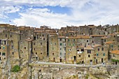 aerial view taken by drone of old village of Pitigliano in summer time, Grosseto province, Tuscany district, Italy, Europe