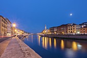 the Arno river crosses the city of Pisa, while the moon rises in the sky of a summer night, municipality of Pisa, Pisa province, Tuscany district, Italy, Europe