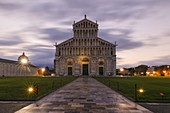 the extraordinary cathedral of Pisa photographed on a coloured summer sunrise, Unesco World Heritage Site, municipality of Pisa, Pisa province, Tuscany district, Italy, Europe