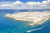 aerial view of the city center of Gallipoli in summer time, located along the Ionic coast, municipality of Gallipoli, Lecce province, Apulia district, Italy, Europe