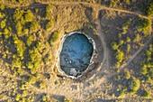 aerial view of the Grotta Sfondata, located along the Adriatic coast near Otranto, municipality of Otranto, Lecce province, Apulia district, Italy, Europe