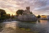 River Sile and Castello Romano at sunset, Treviso, Veneto, Italy.