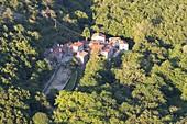 The little village of Bottazzo, on the italian-slovenian border, seen from Cippo Comici. Rosandra Valley, Trieste province, Friuli Venezia Giulia, Italy.